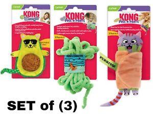 Kong Cat Toys - Set of (3) w/ Catnip & Crinkling! PULL-A-PARTZ, AvoCATo, Purrito