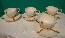 Vintage Loma Coffee Cups and Saucers Set of 4  Ivory White Gold Porcelain