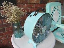 """RETRO Round Electric Table Fan  J. HUNT 10"""" Glampor  Camper Decor  Aqua Blue #2"""