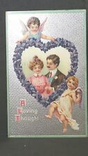 Valentine Post Card A Loving Thought Silver Gild-Couple Cupids 1911 United Art