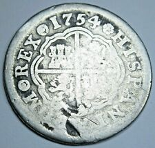 1754 Spanish Silver 1 Reales Genuine Antique Colonial 1700s Pirate Treasure Coin