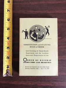 1954 Constitution Statutes Rules of Order Railway Conductors and Breakmen