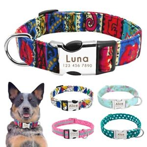 Nylon Dog Collar With Personalized  Pet Nameplate Engraved ID Tag  Reflective