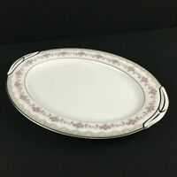 VTG Oval Serving Platter 13in Noritake Glenwood 5770 Pink Rose Platinum Japan