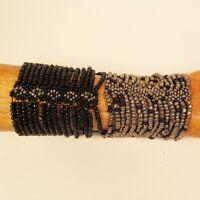 Set of 2 Silver Black Multi Strand Handmade Cleo Stretch Seed Bead Bracelets