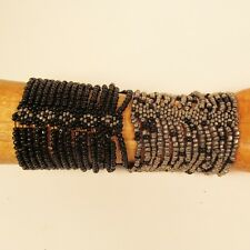Set of 2 Silver Black Multi Strand Handmade Cleo Stretch Seed Bead Bracelets