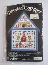 """Bucilla Counted Cross Stitch """"School House"""" Linda Gillum 4x6 w/Frame 1994 NIP"""