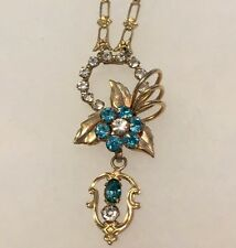 Vintage Blue Rhinestone Elegant Lavalier Necklace Victorian Jewelry Estate