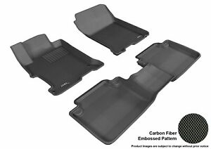 For 2013-2017 Honda Accord Kagu Black All Weather Front and Rear Floor Mat Set