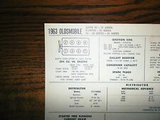 1963 Oldsmobile EIGHT Series Models 394 Ci V8 Tune Up Chart