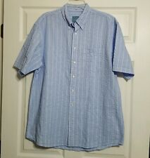 Jos. A Bank Button Down Shirt ~ Sz L ~ Short Sleeve ~ Blue ~ Stripes ~ Cotton