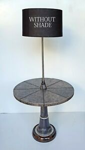 Floor Shade Lamp Round Leather Stitched Table Attached Antique Home Decorative