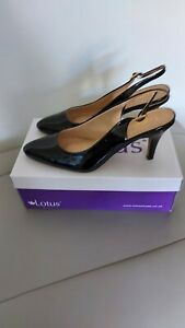 BNIB Ladies Lotus Black Patent Lizzie Sling-Back Shoes size 6 rrp £50