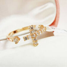Gold Plated Cross Adjustable Open Knuckle Ring crystal wedding xmas Jewelry