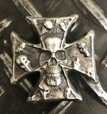 "3 Troy Oz  MK BARZ  .999 Fine ""Military Skull Cross"" .999 FS Sand Last LTD"