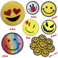Funny smiley icon colourful badges Iron or Sew on Embroidered Patch