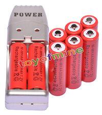 8x AA 1.2V Ni-MH 3000mAh Batería recargable Rojo Color + Cargador USB