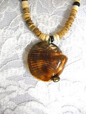 REAL NATRL WHOLE SHELL PENDANT ON COCO BEAD NECKLACE REDNECK ISLAND SURF JEWELRY
