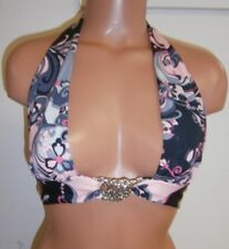 Sauvage Luxe Pink Black and Gray Paisley Bikini Top Small Item #2838L