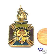 Victorian 1890-1920 Knight of Pythias Fraternal watch Fob Enameling Gold-filled
