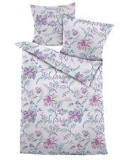 4 tlg. Dormisette Mako-Satin Bettwäsche 135x200 cm Blumenranken bleu rose 3490
