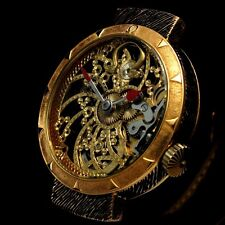 Vintage Men's Wristwatch OMEGA Swiss Skeleton Gold Steampunk Mens Wrist Watches