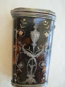 Antique Tortoiseshell Sewing Kit w Gold & Silver Floral Inlays