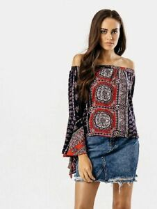 Womens Ladies Multi Paisley Bardot Top With Flute Sleeves size 8 10 12 14