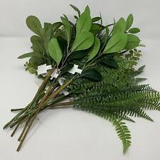 Artificial Plastic Leaf Branches Variety Lot Eucalyptus Palm for Decor or Crafts