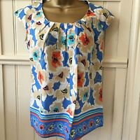 NEW Dorothy Perkins Sky Blue Coral Floral Pretty Top 8 10 12 Summer