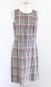 Ann Taylor Black Off White Red Houndstooth Plaid Sheath Dress Size 8 Career