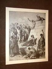 Incisione Gustave Dorè 1880 Bibbia La lapidazione di Stefano Bible Engraving