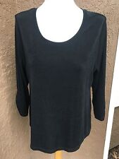 Chico's Travelers Black Ruched Sleeve Top Shirt Size 2 Large L 12 14