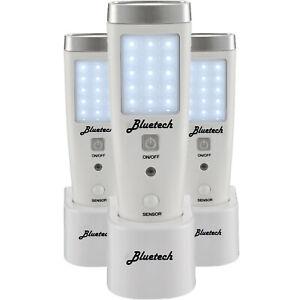 Bluetech LED Rechargeable Flashlight - Emergency Portable Unit w/ Motion 3 Pack