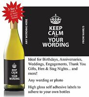 Personalised Keep Calm Thank You Birthday Boss Gift Bottle Label *3 for 2* -024