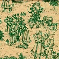 50 Sheets Green St. Nick Christmas Toile on Kraft Tan Tissue Paper 877 - *Sale*