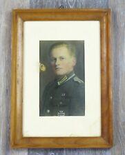 Gerahmtes Koloriertes Foto Wehrmacht Unteroffizier Nachrichtentruppe EK1 EK2