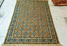 Handmade Blue Color Modern Block Printed Cotton Rug 5x8 Feet Decor Carpet