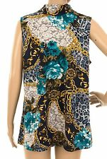 SUSAN GRAVER 50% OFF *Size UK L* Printed Tunic Top Blue Chain Design Sleeveless