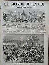 LE MONDE ILLUSTRE 1870 N 671 PARIS- BOIS DE BOULOGNE:LE STATING-CLUB SUR LE LAC