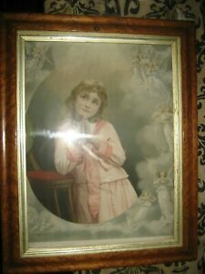 """A LOVELY ANTIQUE WALNUT FRAME WITH A LOVELY PRINT ( ABIDE BY ME ) SIZE 16"""" X 19"""""""