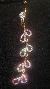 Large CZ TOP GOLD gp Navel Belly Bar Pierced Dangle Long Rhinestone Aqua Purple