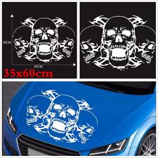 Car Hood Window White 35x60 CM Custom Triple Skull Stickers DIY Graphics Decals