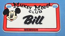 Vintage Walt Disney Prod. Mickey Mouse Club Name Bill Plastic License Plate