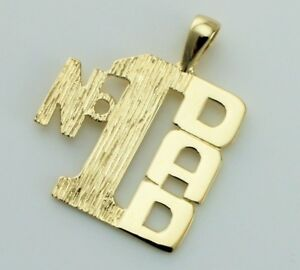 """New 9ct Yellow Gold """"No1 Dad"""" Pendant / Charm"""