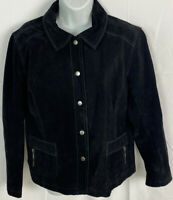 Chicos Black Suede Leather Jacket Size 2 Lined Sz Large Snap Up Zip Pockets EUC