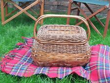 Large Vintage & Unusual Wicker Hamper Woven Picnic Storage Basket With Handles