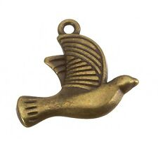 Antique Brass Dove Charm Pendants 25x21mm Pack of One (B103/8)