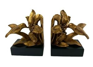 Pair of Two Hummingbird and Flowers Gold Tone Leaf Style Bookends Heavy Solid