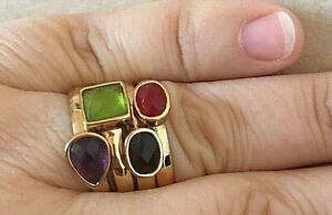 Size 8 Barse Four Stackable Rings, Genuine Stones, MSRP $85